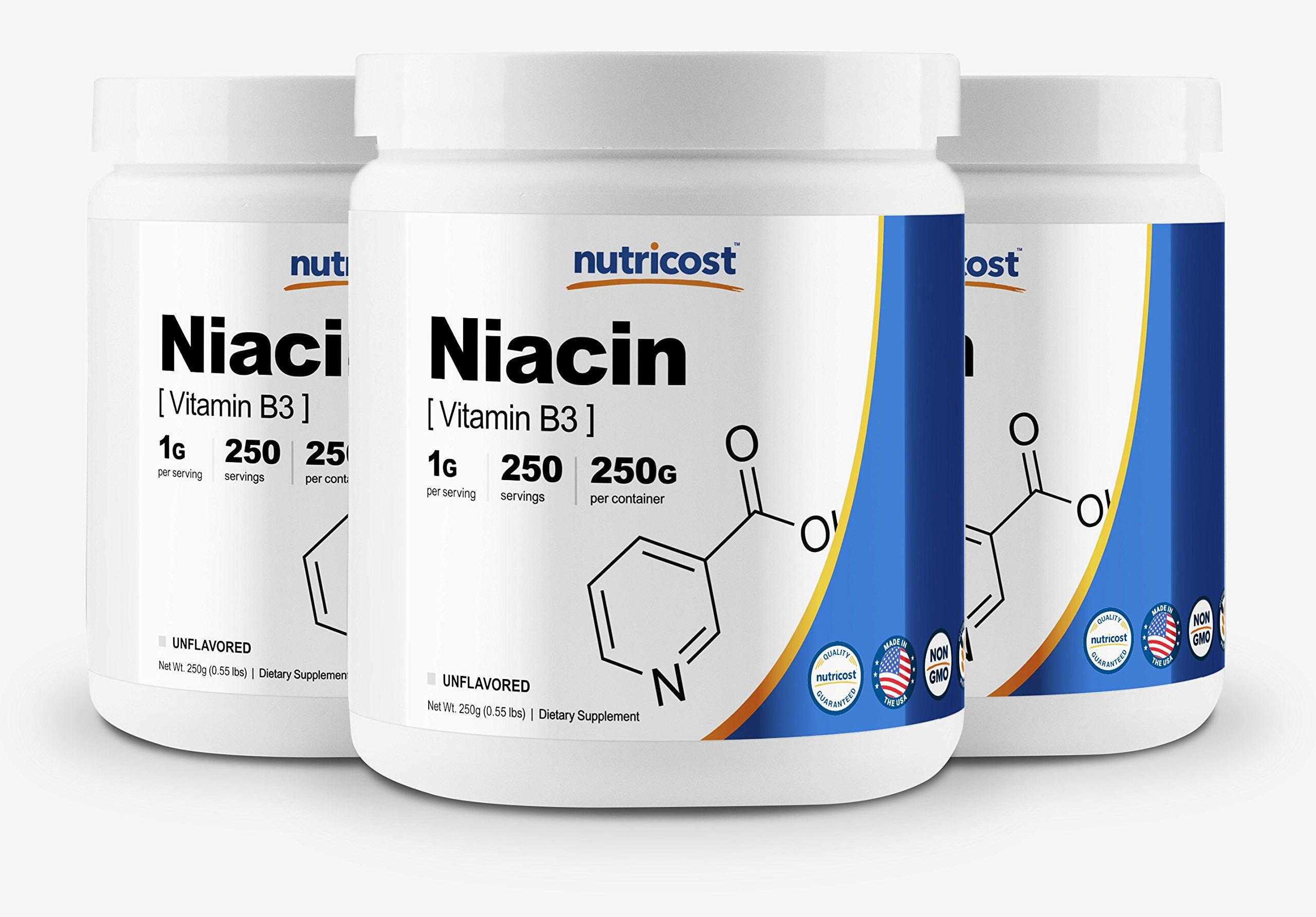 Nutricost Niacin Vitamin B3 Powder 250G (3 Pack) - 750 Grams - 1G Per Serv - Pure, High Quality Powder