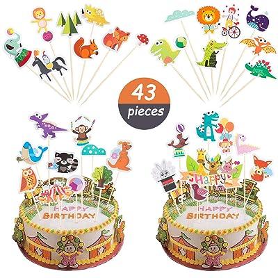 Comius 43 Pcs Lindo Animales Decoración para Tartas, Animales Cupcake Toppers para Niños Baby Shower Fiesta de Cumpleaños Cake Decoration Supplies: Juguetes y juegos