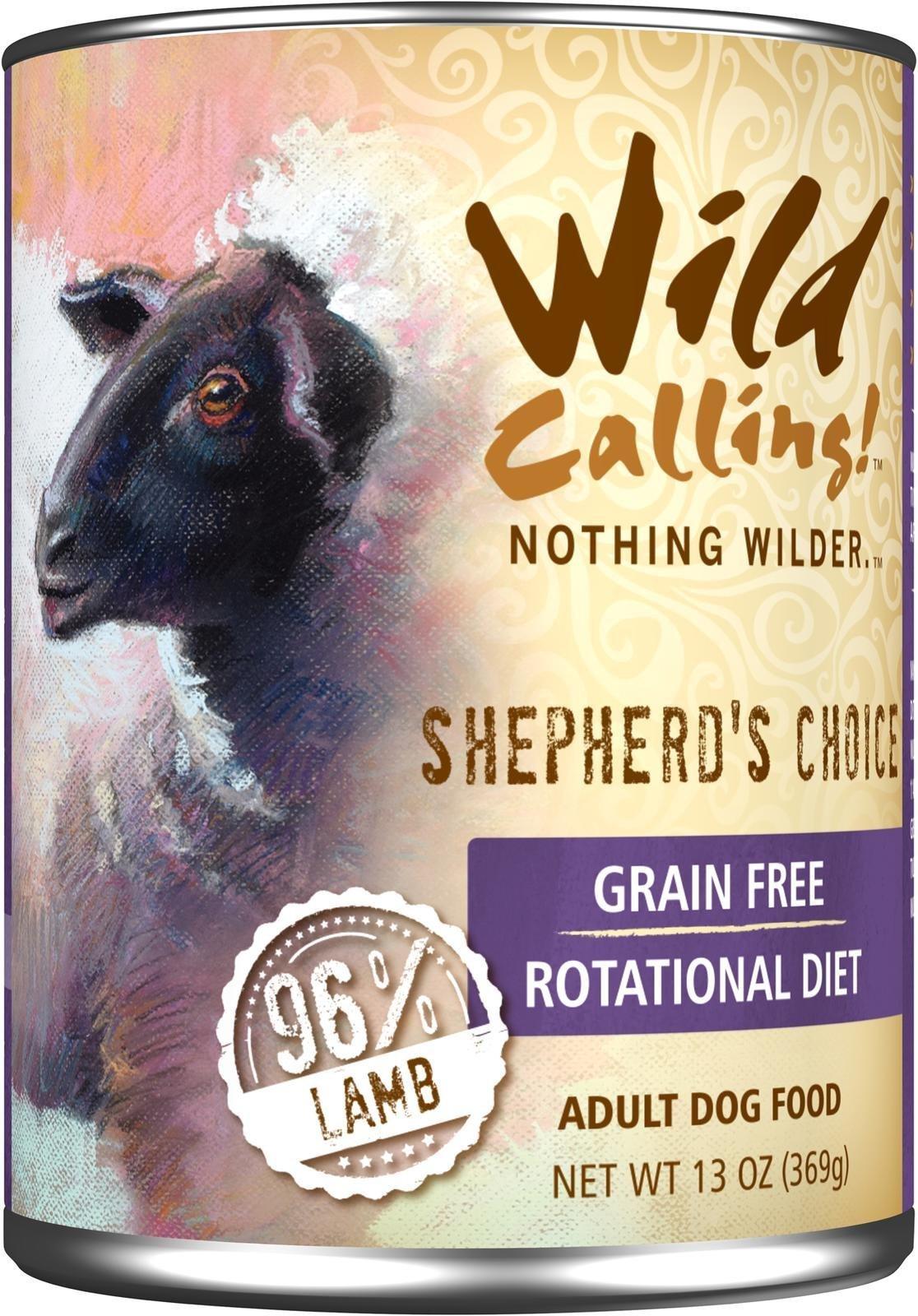 Wild Calling Canned Dog Food - Shepherd's Choice 96% Lamb - 13 oz - 12 ct