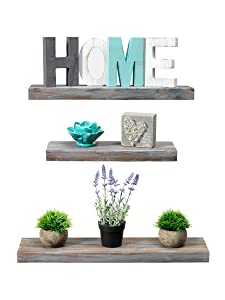 Rustic Farmhouse 3 Tier Floating Wood Shelf - Floating Wall Shelves (Set of 3), Hardware and Fasteners Included (White Wash, 3 Tier)
