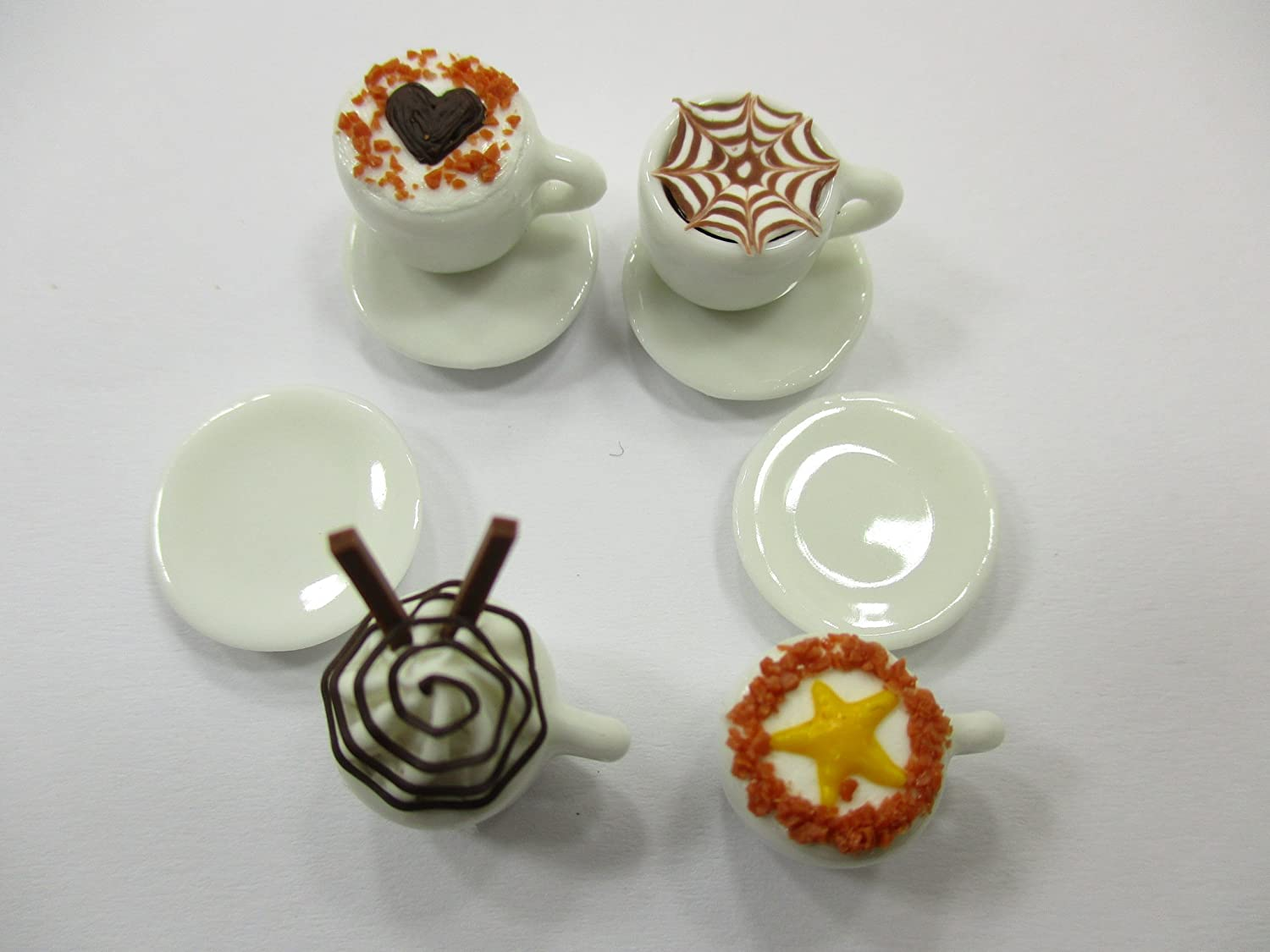 Dollhouse Miniatures Drink Beverage Set 14 Mixed Coffee Ceramic Cup Supply 14175