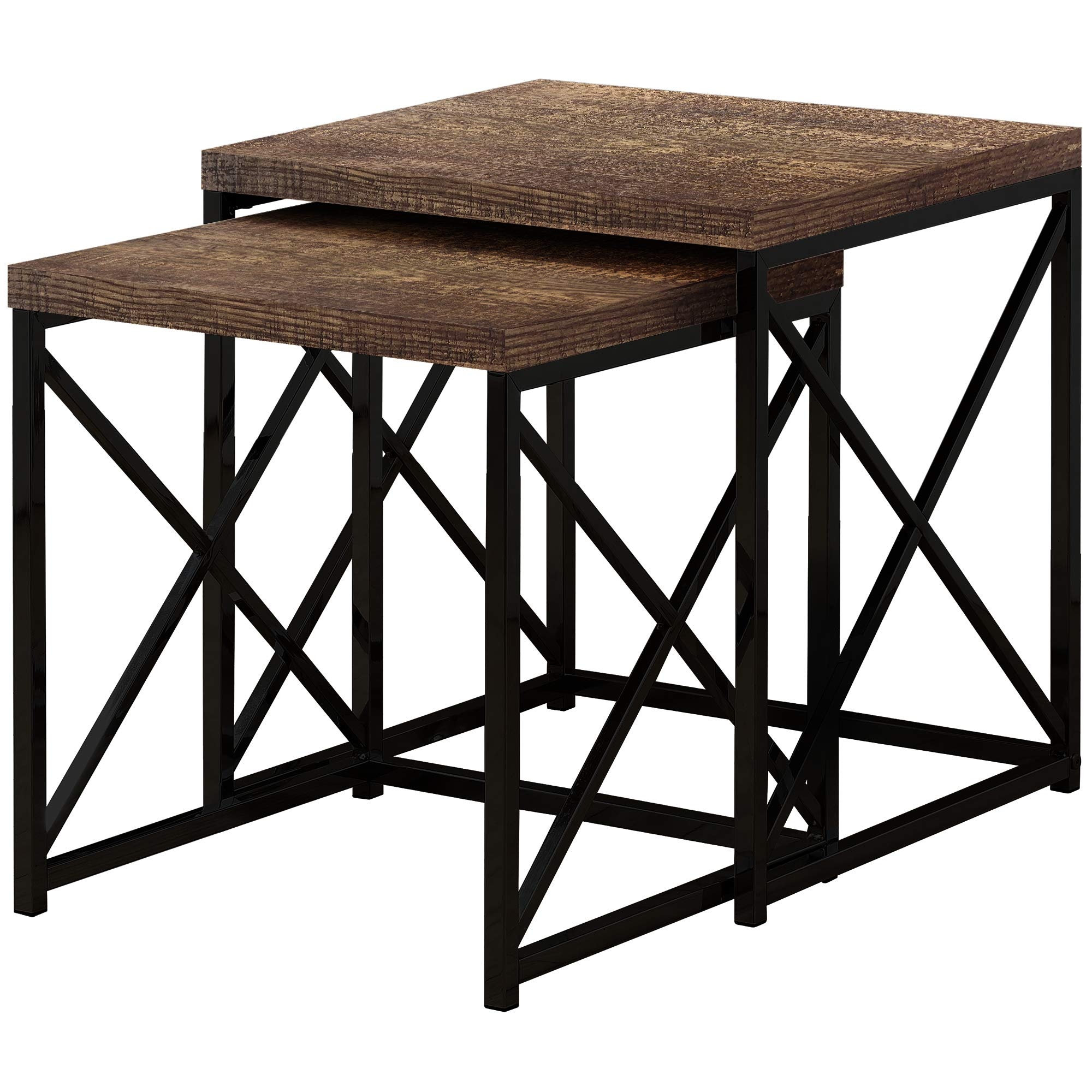 Monarch Specialties I I 3413 TABLE-2PCS Set Reclaimed Wood/Black Nesting Table, Brown by Monarch Specialties