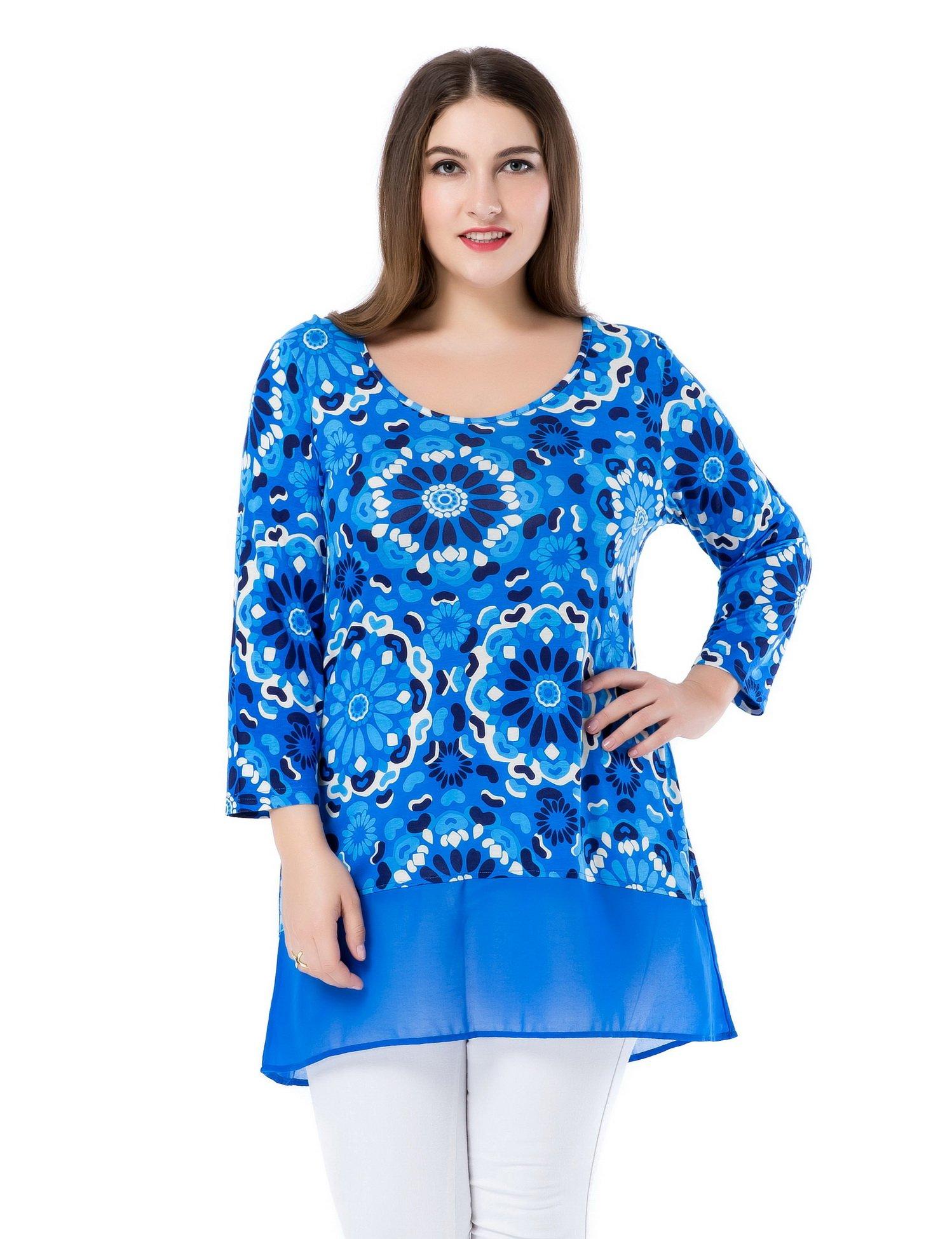 Chicwe Mujeres Tallas Grandes Tops Túnicas con Dobladillo de Gasa Blusa Estampado Floral - Camiseta Casual en Oficina Fiesta