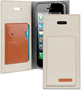 iPhone SE/5S/5 Wallet Case with Free 7 Gifts, Goospery Milano Folio Ver. Kraken [Non-Slip Grip] Card/Cash Slot with Kickstand Flip Cover for Apple iPhoneSE 5S 5 - Beige, IP5-MILNF/GF-BEI