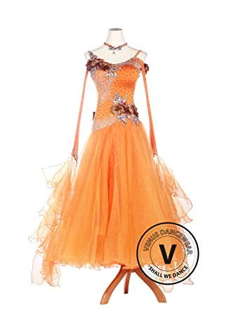 c0d7bcfad37 Amazon.com  Venus Dancewear Orange Lycra Ballroom Waltz quickstep Standard  Competition Dress  Clothing