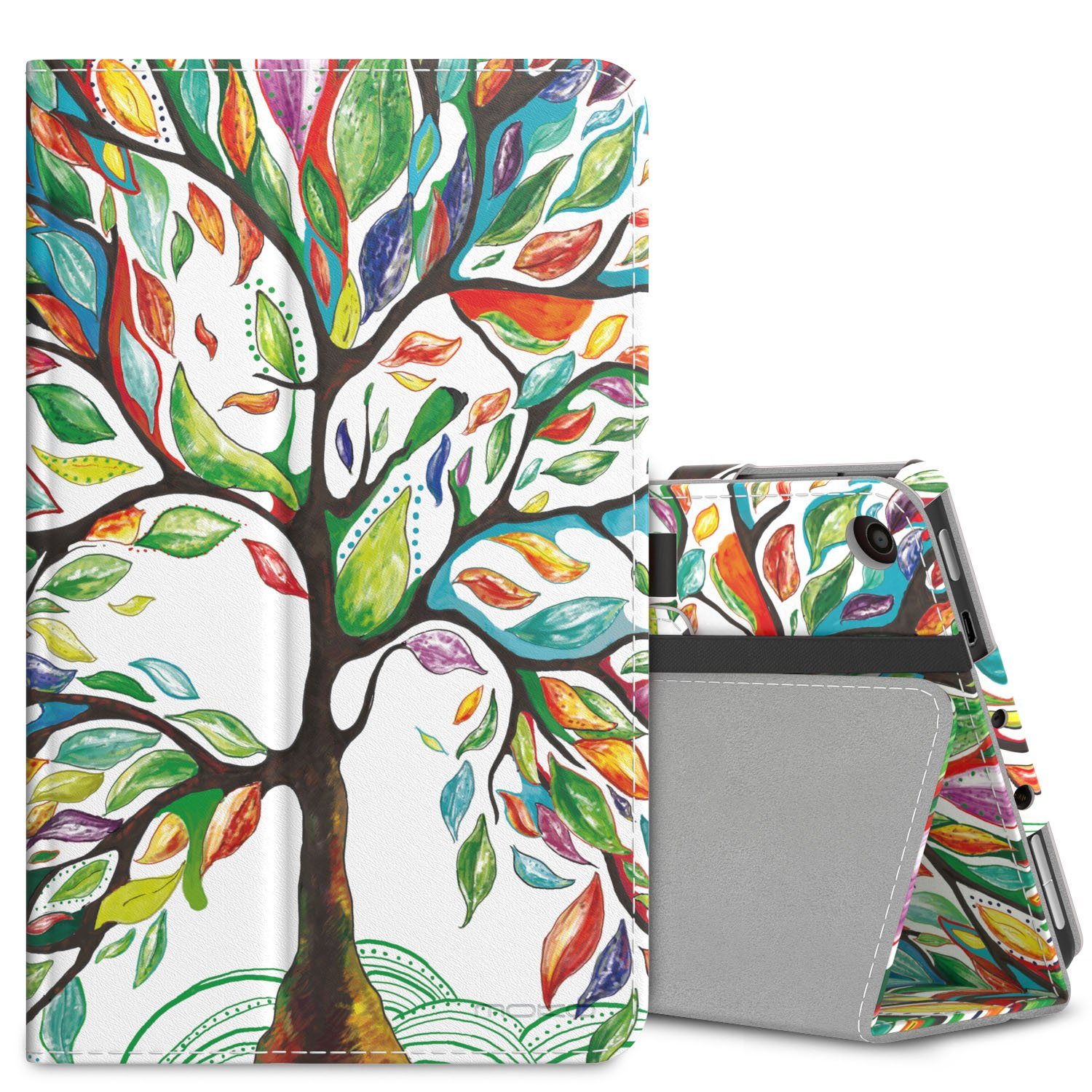 MoKo Case for All-New Amazon Fire 7 Tablet (7th Generation, 2017 Release Only) - Slim Folding Stand Cover Case for Fire 7, Lucky TREE (with Auto Wake / Sleep) by MoKo