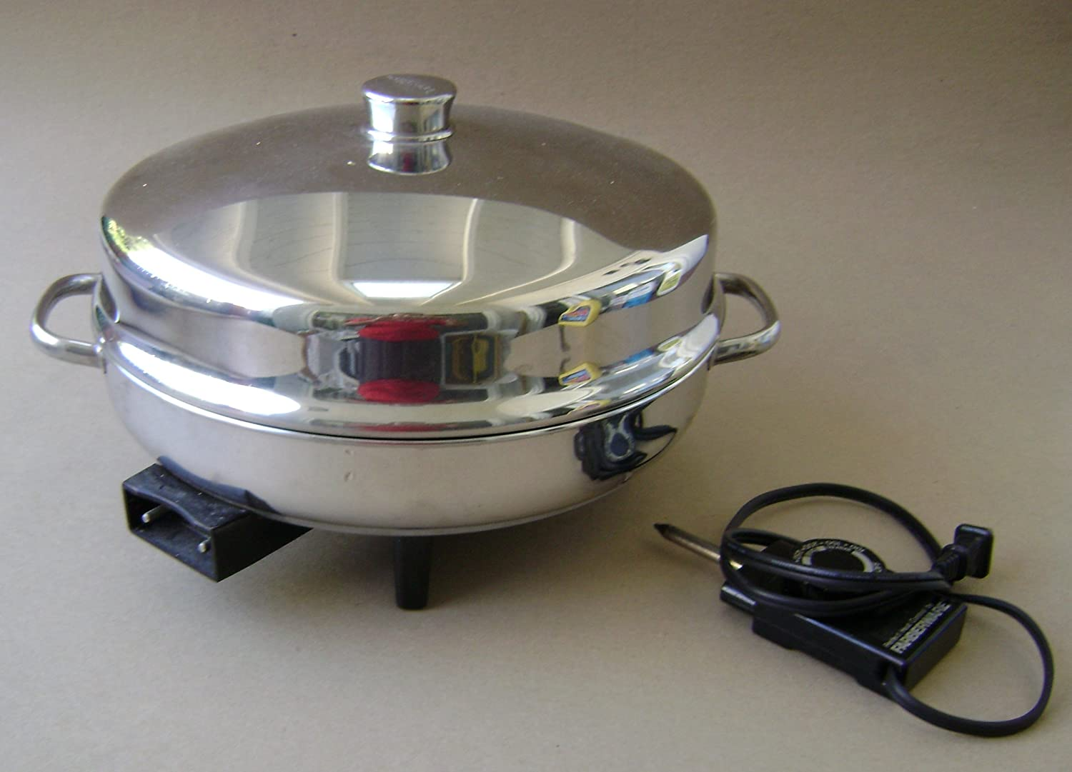 Vintage Farberware 344A 12 inch Electric Fryer Skillet w/ Dome Lid - Includes manual, probe heat control and roasting rack