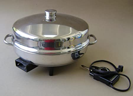 Vintage Farberware 344A 12 inch Electric Fryer Skillet w Dome Lid – Includes manual, probe heat control and roasting rack