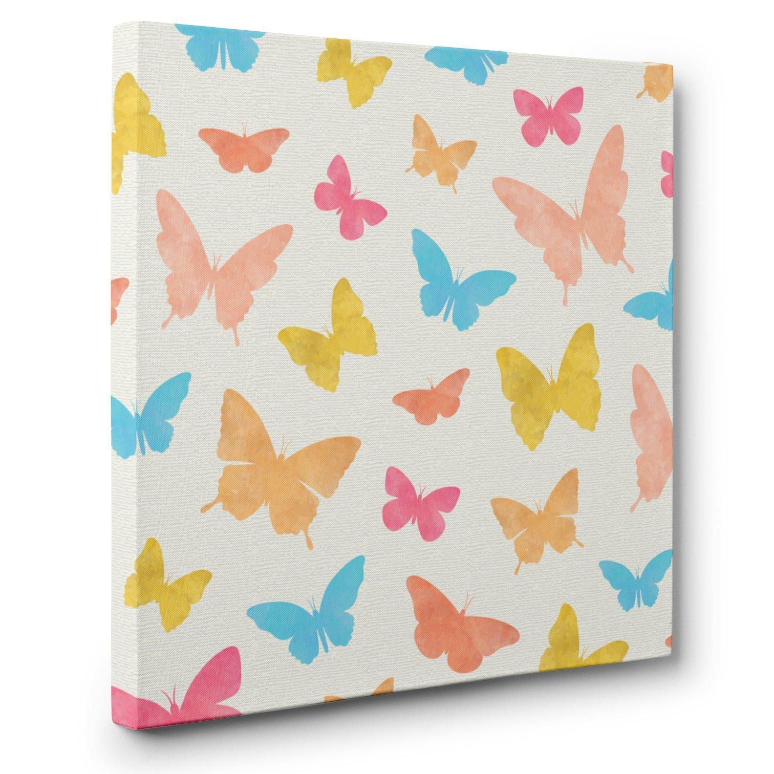 Butterflies Blue Pink Orange CANVAS Wall Art Home Décor