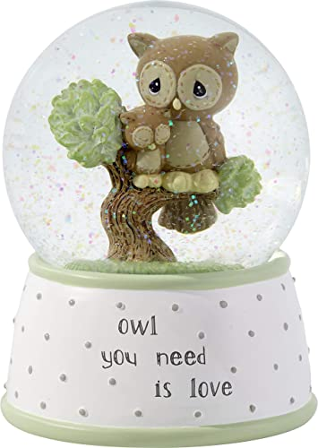 Precious Moments Owl You Need is Love Musical Resin Glass Snow Globe 183101 WATERBALL, One Size, Multi
