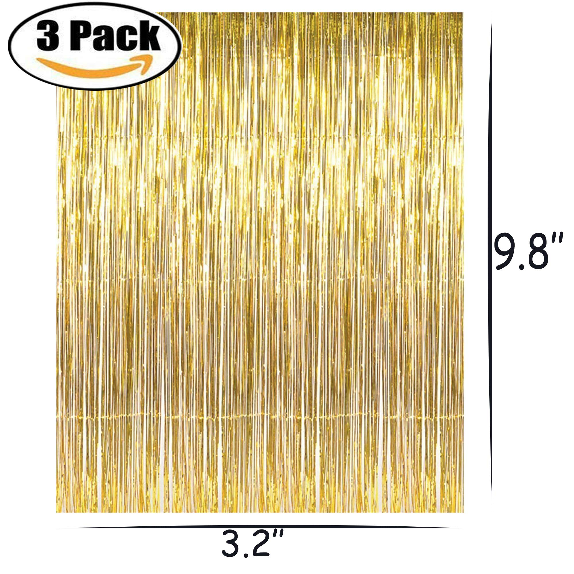 Originalidad 3 Pack 3.2 ft x 9.8 ft Metallic Gold Foil Fringe Shiny Curtains Party, Prom, Birthday, Wedding Party Christmas Decorations