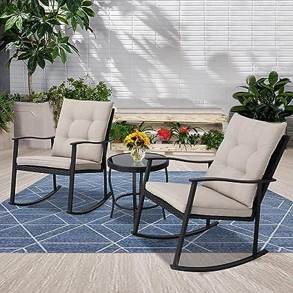 amazon com incbruce outdoor rocking chair bistro set 3 piece patio rh amazon com  front patio rocking chairs