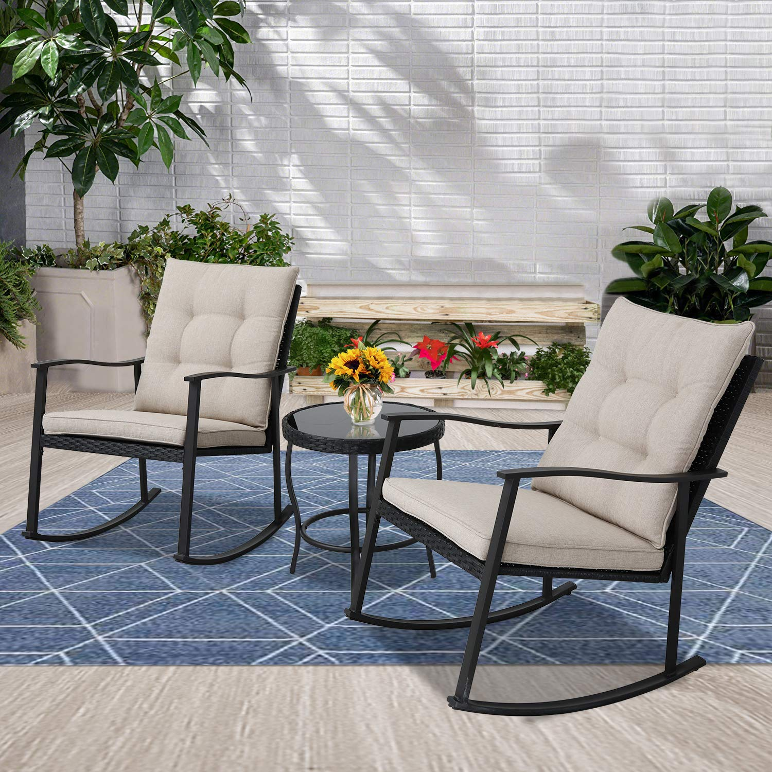 Incbruce Outdoor Rocking Chair Bistro Set 3-Piece Patio Furniture Sets All-Weather Steel Frame | Two Chairs & Round Glass Coffee Table for Patio Front Porch Garden Deck …