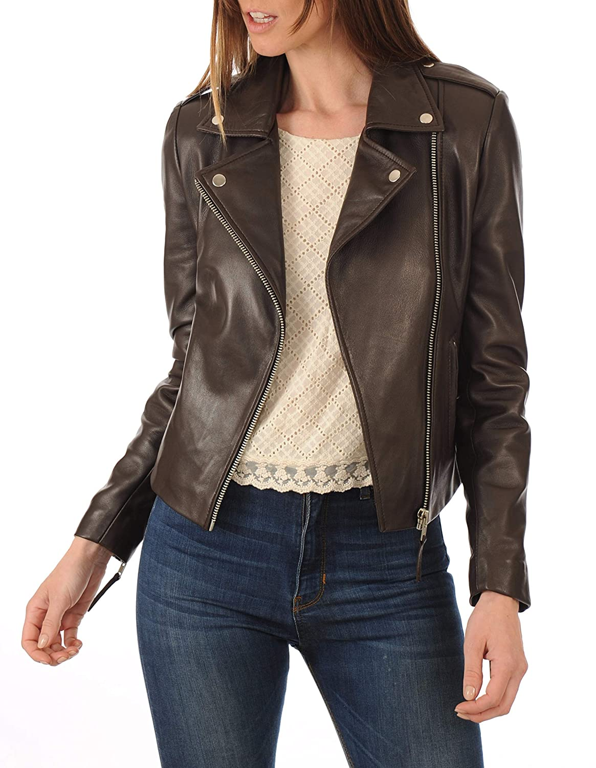 Browns3 DOLBERG CREATIONS Sheepskin Leather Jacket for Womens