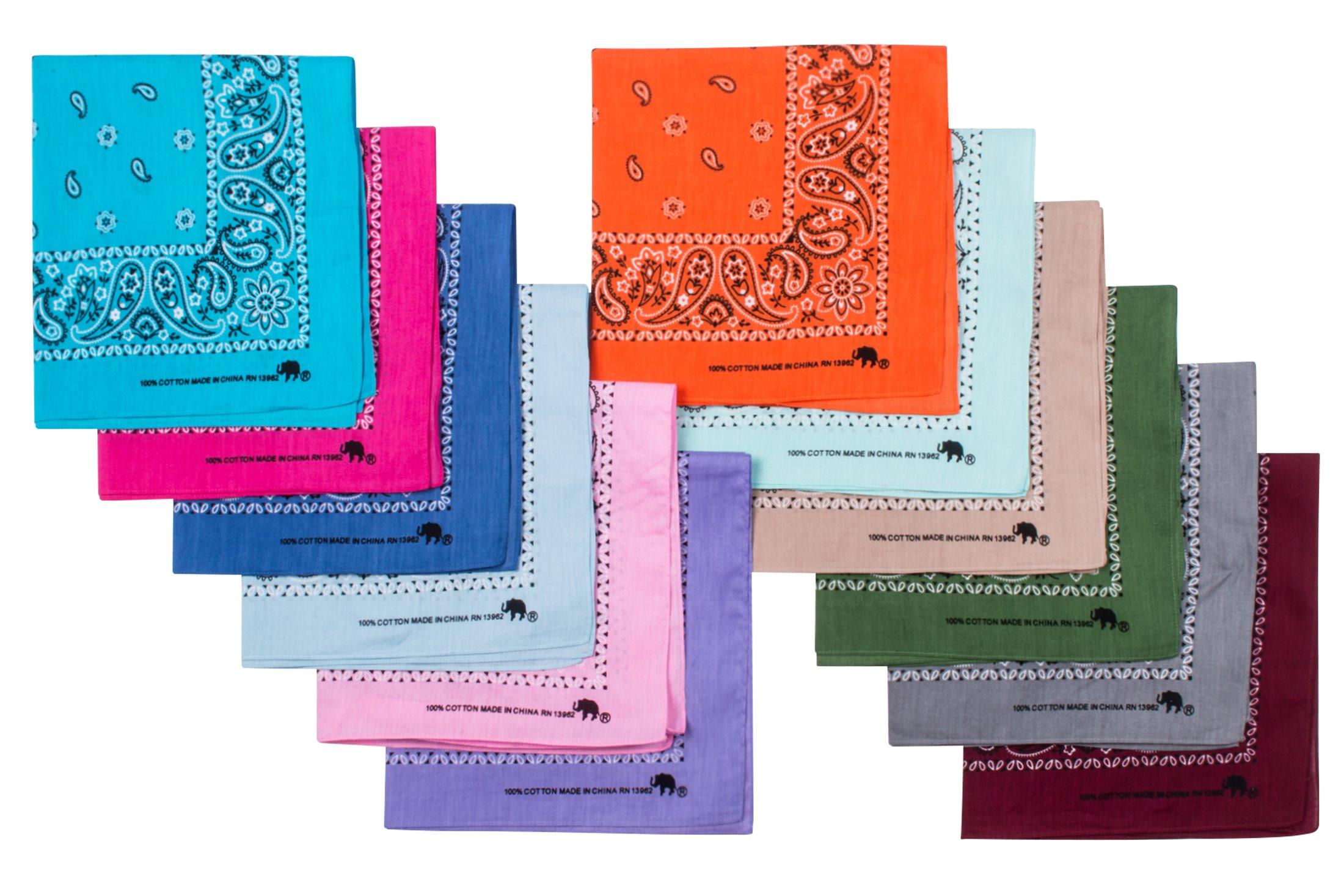 Elephant Brand Bandanas 100% cotton since 1898-12 Pack (Assorted Fashion)