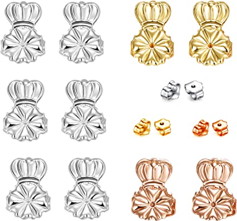 Original Magic Earring Lifters ❤ 3 Pairs of Adjustable Earring Lifts Earring Backs Pair of Sterling Silver, Pair of 18K Gold Plated and Pair of Rose Gold AmzonBasics