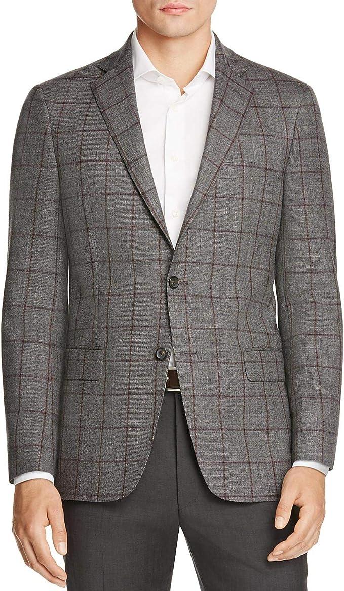 44R Hart Schaffner Marx BrownGray Herringbone 100/% Wool Two Button Sport Coat Size
