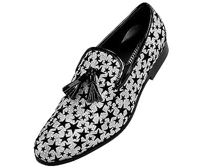9a2357ac4dc96 Amali Men's Loafer Dress Shoe Metallic Glitter Star Patterned Slip-On's with  Black Tassel,