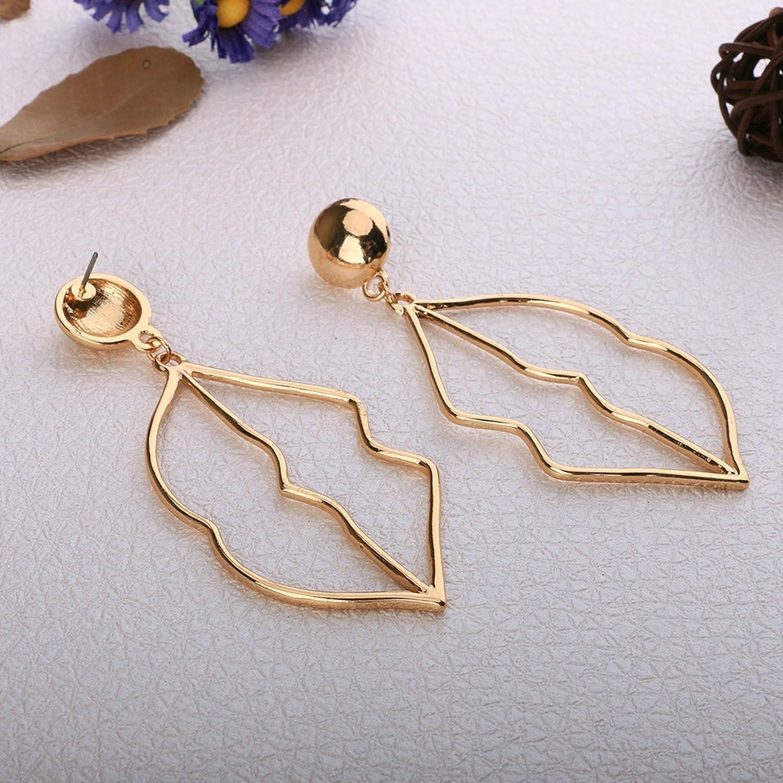 Gnzoe Gold Plated Women Stud Earrings Hollow Lip Gold 80x30MM