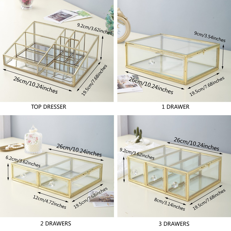 minopigo Antique Spacious Mirror Glass 6Drawers Vanity Tray Set/Gold Metal Cosmetic Makeup Storage/Stunning Jewelry Cube Organizer. It Consists of 4Separate Organizers Dustproof by minopigo (Image #5)