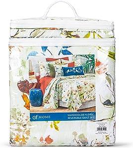 C&F Home Watercolor Floral Orange 90 x 92 Cotton Luxury Full Queen Quilt 3 Piece Set