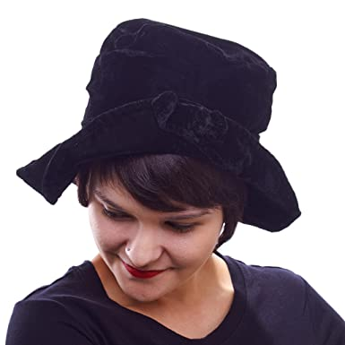 Midnight Mystery Velvet Bucket Hat with French Knot Accent at Amazon ... 2e507dd5527