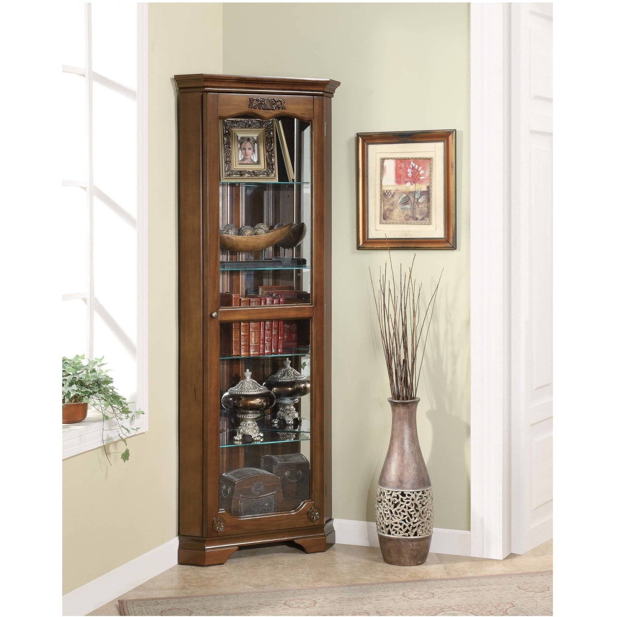 Corner Curio Cabinet in Golden Brown Living Room Bedroom Office Furniture Four Shelves Behind Glass Panel Made of Solid Wood by AVA Furniture