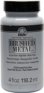 product image for FolkArt Brushed Metal Paint in Assorted Colors (4 oz), Pale Silver