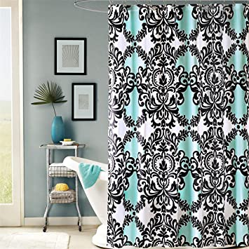 Mia Printed Shower Curtain Aqua 72x72quot