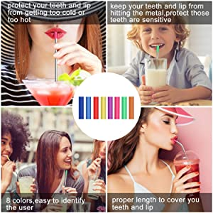 Stainless Steel Straws,Set of 16 10.5 FDA-Approved Reusable Drinking Straws for 30oz&20oz Tumblers Cups Mugs,Metal Straws with 24 Soft Food-Grade Silicone Tips,4 Cleaning Brushes (16 bent) (Color: 10.5:16 bent, Tamaño: small)