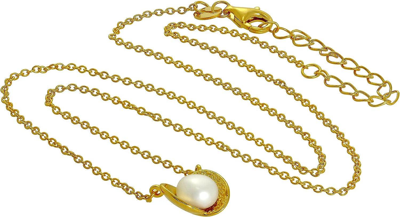 Collier et Pendentif Perle dans une Huître à Perles en Argent 925//1000 Plaqué Or