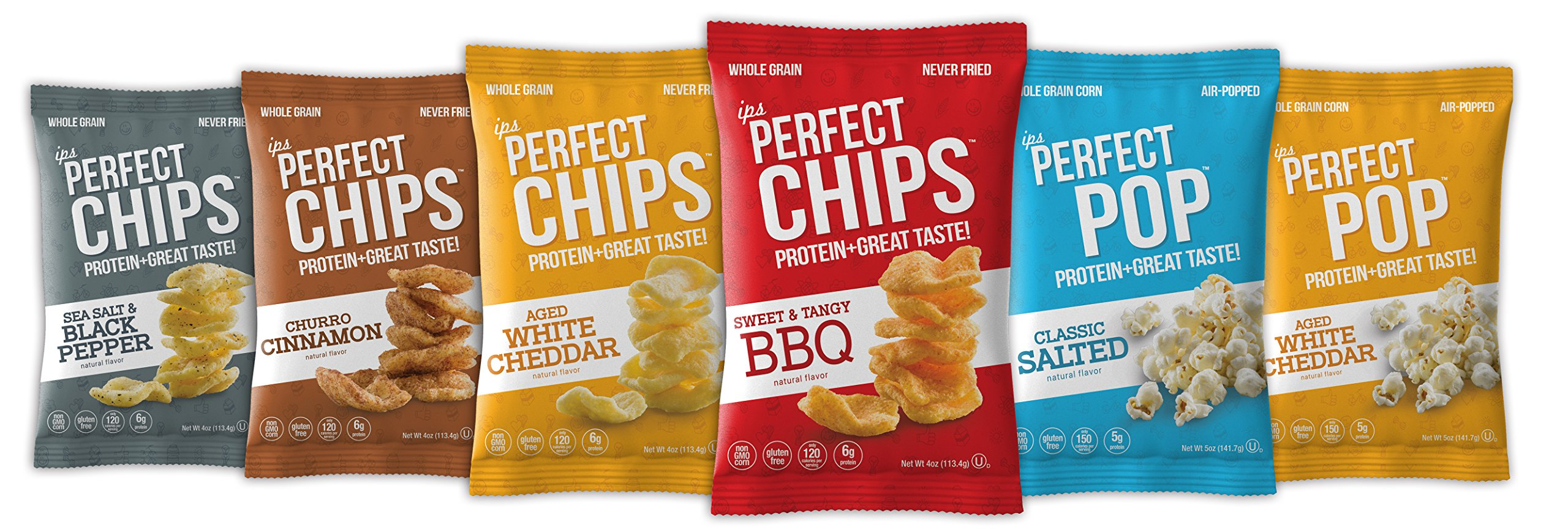 Protein Chips and Popcorn Variety Pack by IPS All Natural | IPS Chips and Pop Whey Protein Snack | Tasty and Healthy Snack With Low Carb, Gluten Free, Non GMO Corn, No Artificials | 1oz Pack of 8