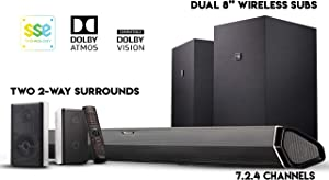 "Nakamichi Shockwafe Elite 7.2.4Ch 800W Soundbar System with Dolby Atmos, Dolby Vision, Dual 8"" Subs (Wireless) & Two 2-Way Rear Speakers"