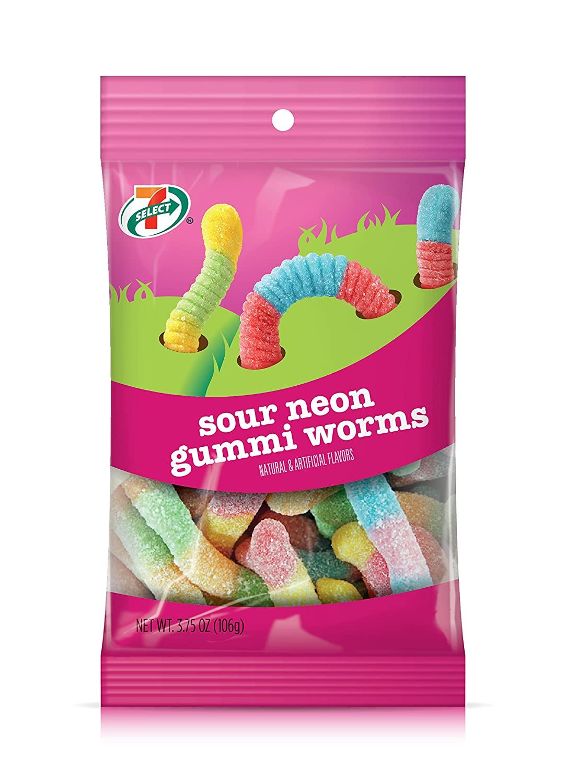 amazon com 7 select sour neon gummi worms 14 oz pk 6 packs 84