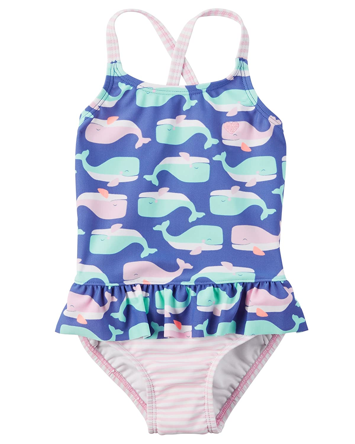 Carter's Baby Girls' Whale Ruffle Swimsuit, 24 Months