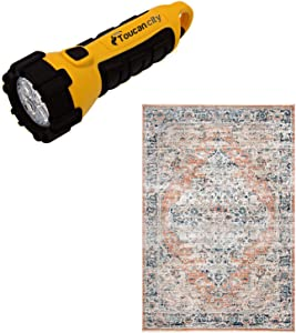 Toucan City LED Flashlight and Home Decorators Collection Piper Shaded Snowflakes Beige 7 ft. x 9 ft. Area Rug KKSL03A-6709