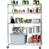 "Seville Classics MEGA RACK UltraDurable Commercial-Grade 5-Tier NSF-Certified Steel Wire Shelving with Wheels, 60"" W x…"