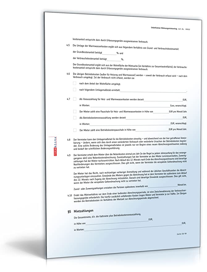 Mietvertrag pdf zum ausfüllen 2019