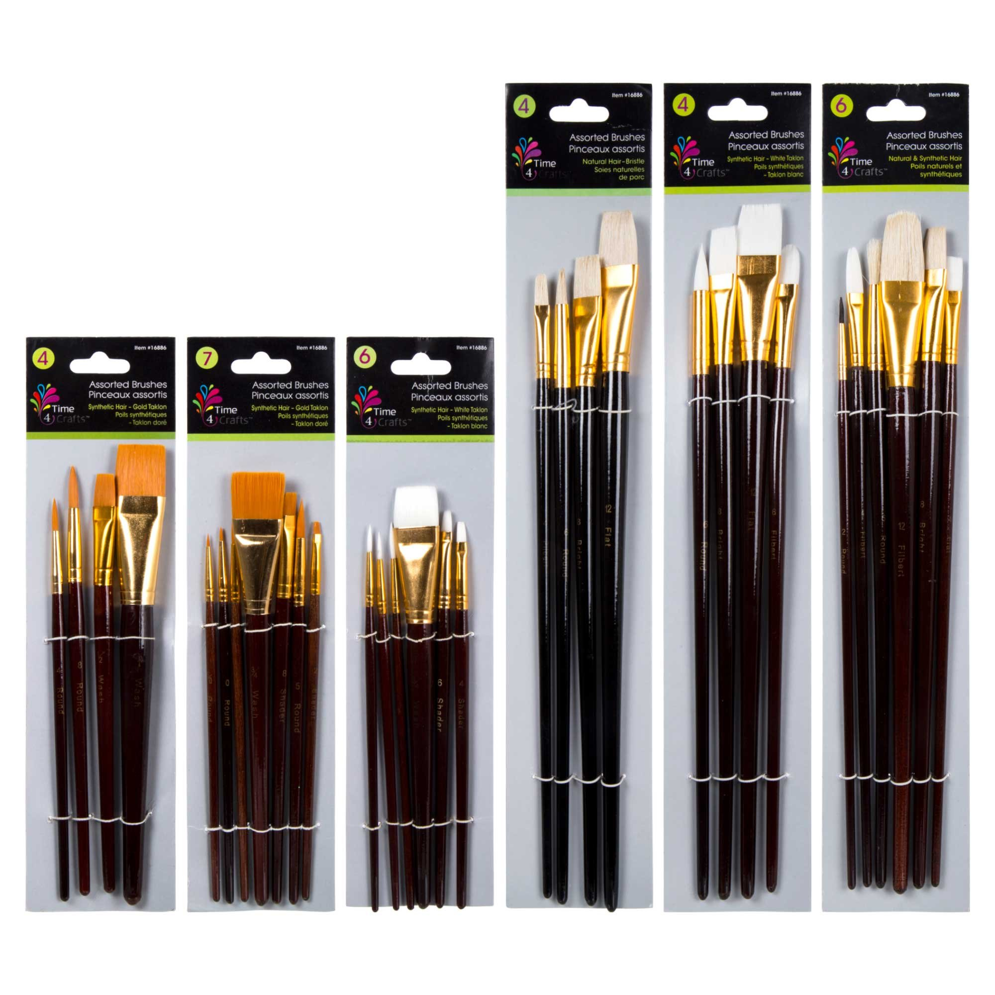 Time 4 Crafts Assorted Artist Brush Set, Pack of 36 9.5 x 15.5 x 6.5 Inches, White, Gold, 36 Piece