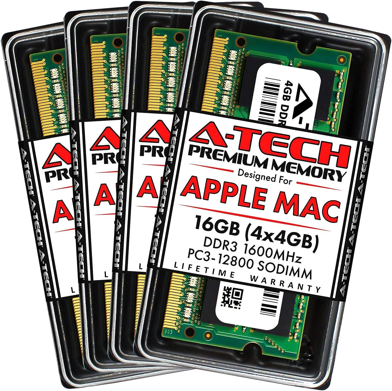 A-Tech 16GB (4x4GB) PC3-12800 DDR3 1600MHz RAM for Apple iMac (Late 2012, Late 2013, Late 2014 Retina 5K, Mid 2015 Retina 5K) | 204-Pin SODIMM Memory Upgrade Kit