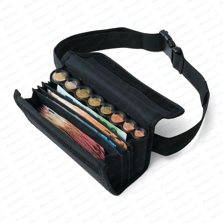 Borsa da Cameriere - Portafoglio di cameriere incl. 8 scomparti cambiamonete euro con laccio – misure della borsa 20, 5 x 6, 5 cm x 10, 0 cm - Securina24 (black)
