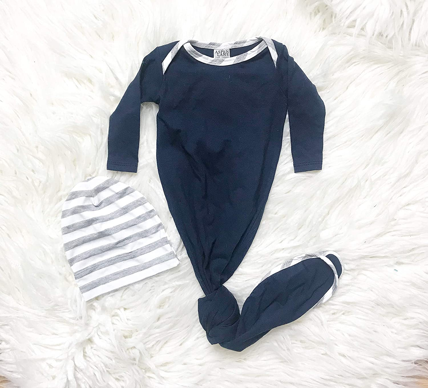 Newborn Baby Knotted Gown 2-Piece Set Soft Modal or French Terry Made in USA Navy w//Gray Stripe Hat