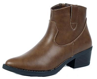 AgeeMi Shoes Femmes Bottes Casual Femme A Talon Bout Pointu Chaleureux  Hiver Bottines,EuX14 Brun b6aebd0f2390