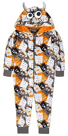 Boys Monster Onesie Fleece Luxury Hooded Childrens All in One Suit Orange  Grey White Size 2 7d2e3afa8