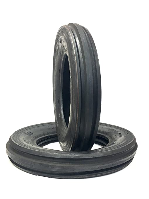 Two 4 00-19 Rib Tractor Tires with Tubes 400-19 Three Rib