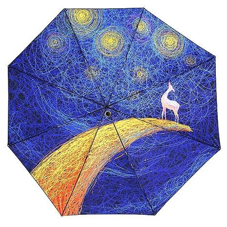 2bd3cc0fd084 REALBRELLA 3 Fold Designer Umbrella , Compact Waterproof, Windproof,  Anti-UV Fiberglass Travel Umbrella Rain Umbrella Sun Umbrella with LED  Flashlight ...