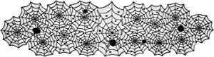 "DII 18x72"" Polyester Lace Table Runner, Black Spider Web - Perfect for Halloween, Dinner Parties and Scary Movie Nights"