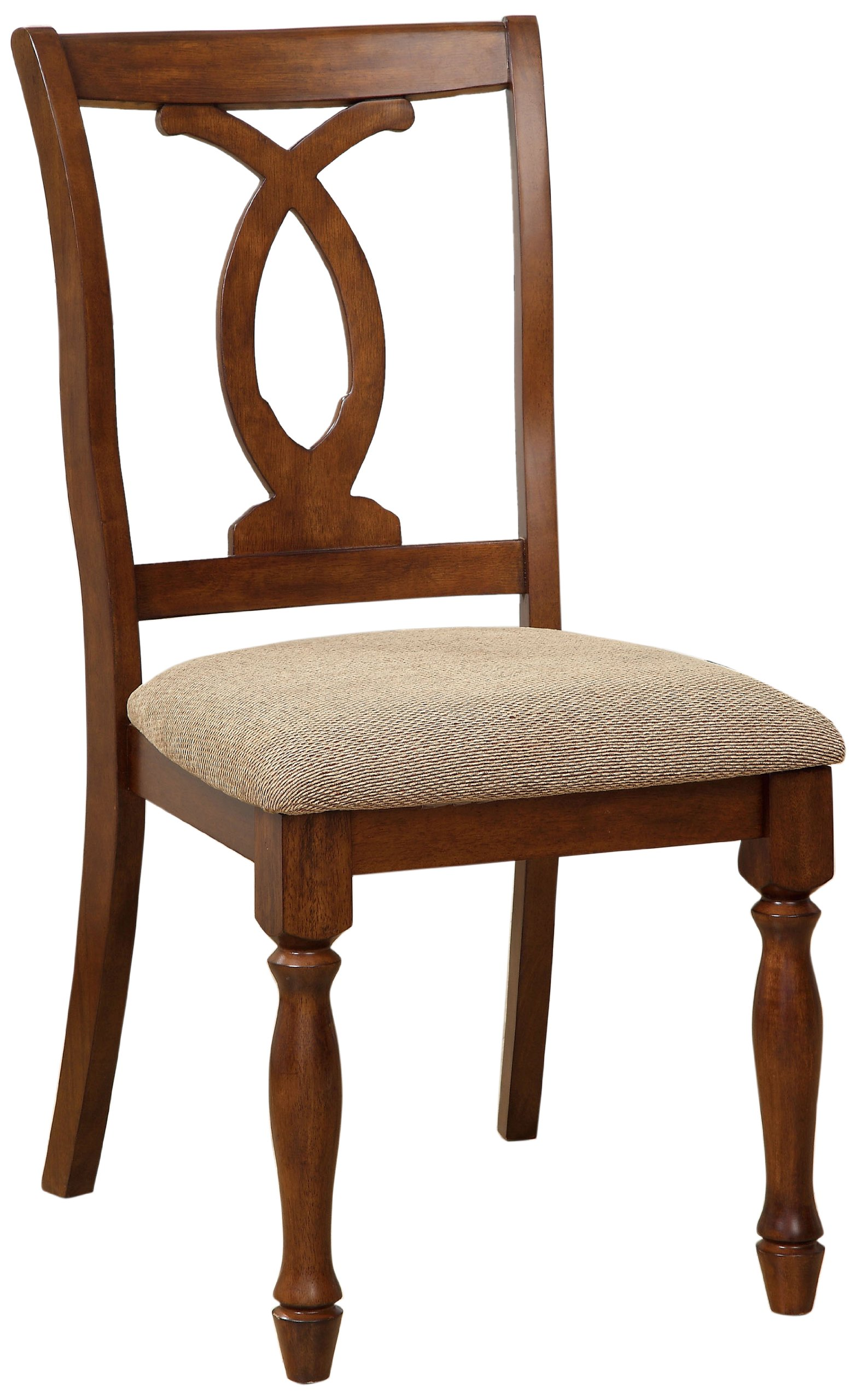 Furniture of America Emery Upholstered Wooden Side Chair, Dark Oak, Set of 2 - Masterfully crafted from solid woods and wood veneers; Finish: Dark Oak; Sold in Pairs Intricate designed pattern back splat and dark beige fabric upholstered seat add character to the dark oak chair Generously sized to coordinate with both small or large dining tables; Thick foam filled seat cushions for comfort - kitchen-dining-room-furniture, kitchen-dining-room, kitchen-dining-room-chairs - 81V XhELmyL -