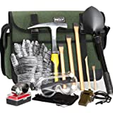 INCLY 15 PCS Geology Rock Pick Hammer Kit, 3 PCS Digging Chisels for Rock Hounding, Gold Mining & Prospecting Equipment with