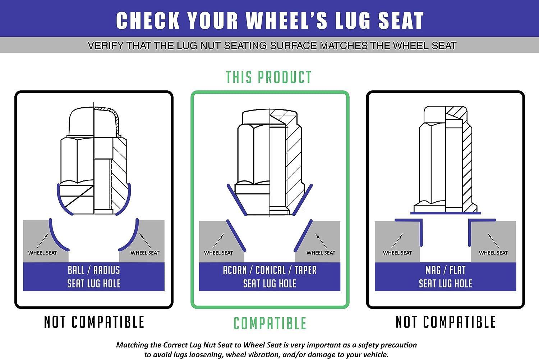 Socket Key Set of 24 SIZZER Wheel Lug Nuts M14x1.5 Thread Size 4.4 Long 6 Point Closed End Bulge Acorn Spike Lug Nuts Black Finish